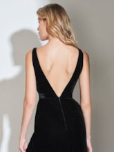 Straps Split-Front Velvet Low Back Black Evening Dress