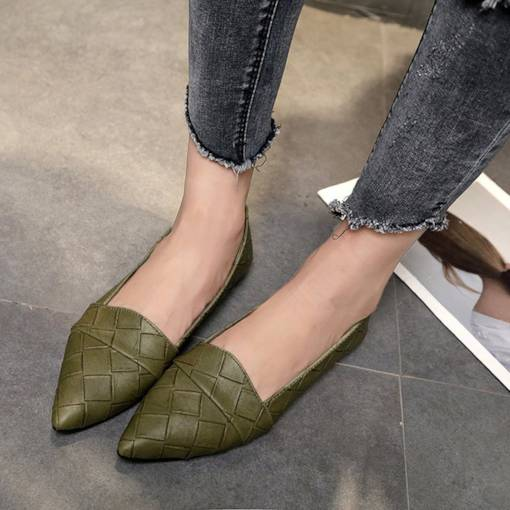 PU Pointed Toe Block Heel Slip-On Comfy Women's Flats
