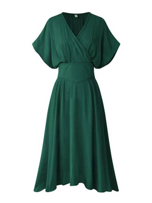 Short Sleeve High Waist Plain Day Dress