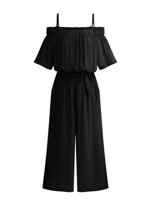 Plain Casual High Waist Belt Strap Women's Jumpsuit