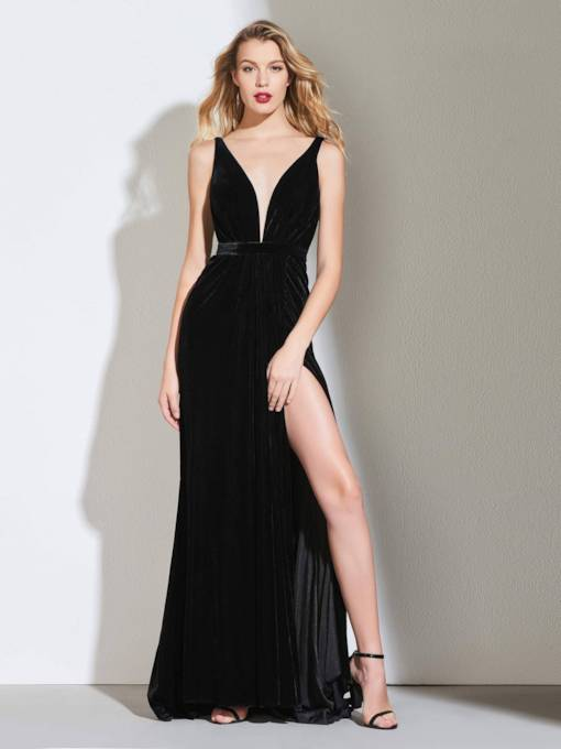 A-Line Side-Split Velvet Backless Evening Dress