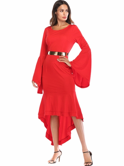 Long Sleeve High Waist Elegant Maxi Dress