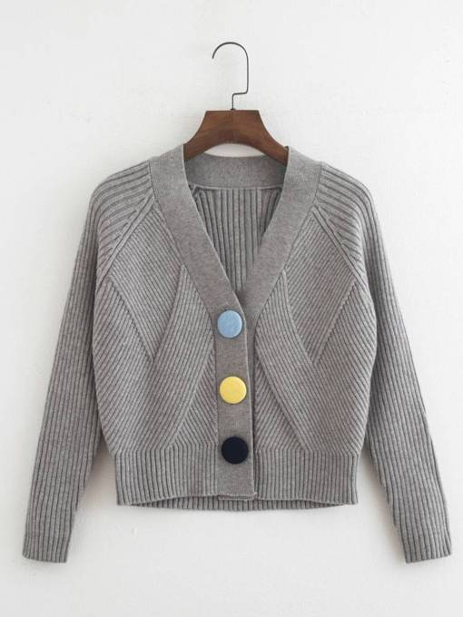 Contrast Color Button Down Women's Sweater Coat