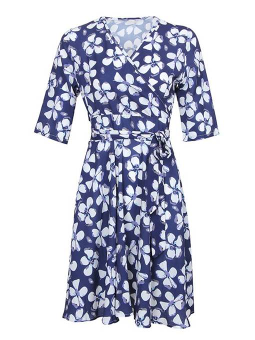 V-Neck Half Sleeve Floral Prints Wrap Dress