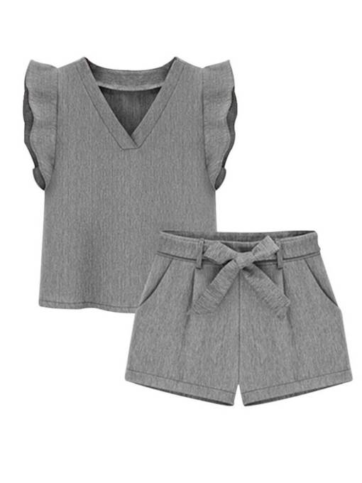 Ruffle Tee and Shorts Women's Two Piece Set