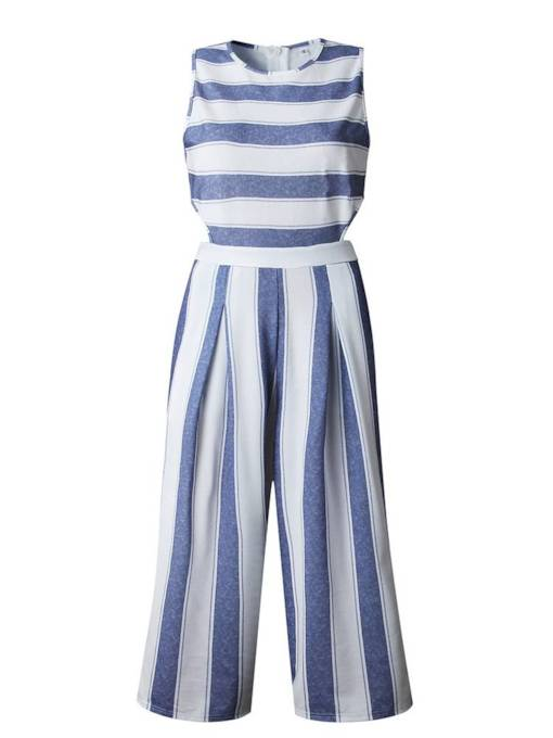 Striped Color Block Women's Jumpsuit