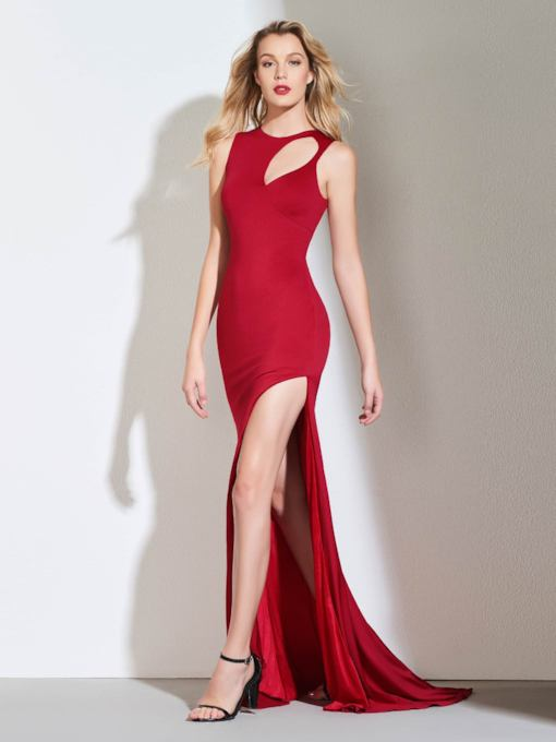 Sheath Hollow Scoop Side-Split Evening Dress