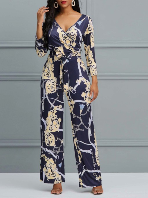 Color Block Full Length Lace-Up Wide Legs Women's Jumpsuits