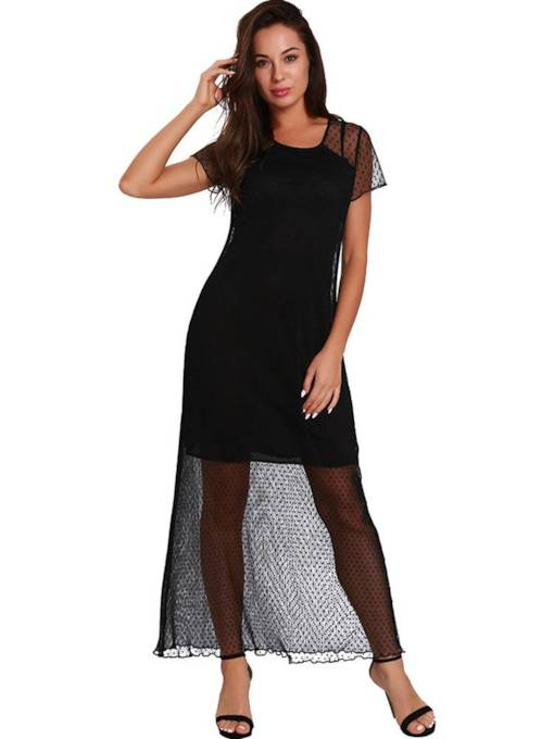 Short Sleeve Mesh Polka Dots Maxi Dress