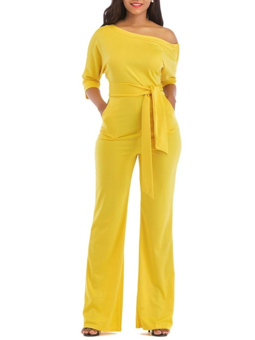 Lace-Up Full Length Plain High-Waist Women's Jumpsuits