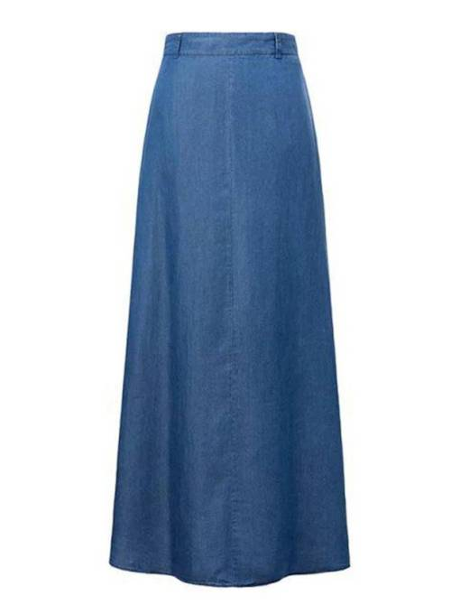 Denim Long Straight Women's Maxi Skirt