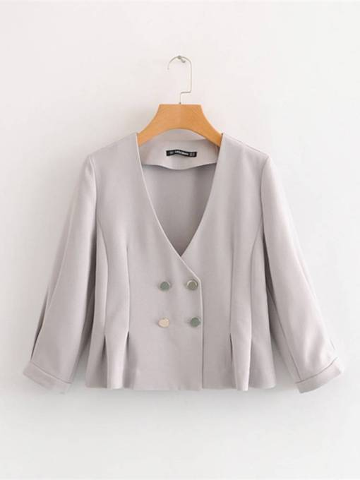 Double-Breasted Pleated Solid Color Women's Jakcet