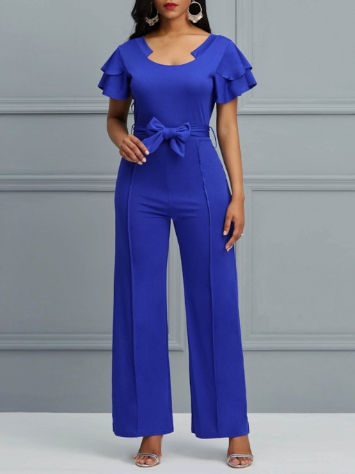 Falbala Full Length Casual Plain Straight Women's Jumpsuits