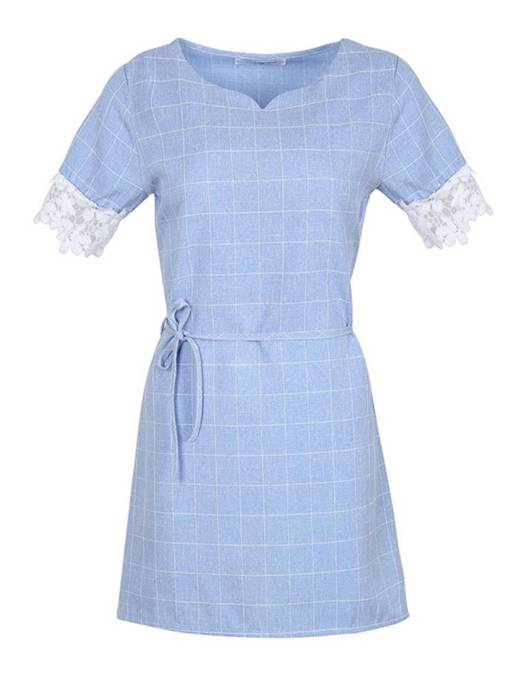Short Sleeve Belt Casual Day Dress