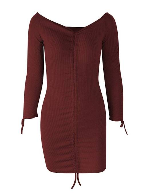 Boat Neck Long Sleeve Plain Bodycon Dress