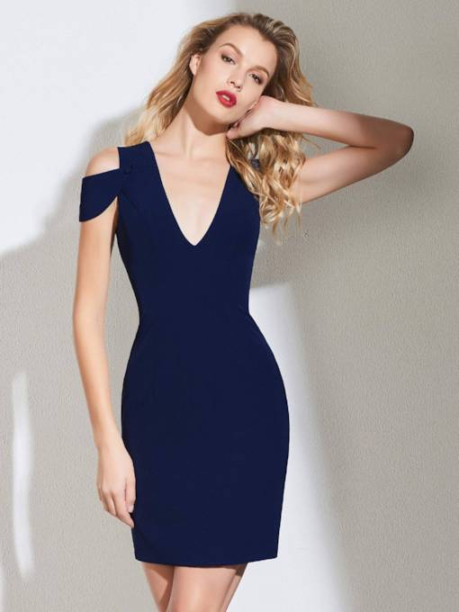 Sheath V-Neck Short Cocktail Dress