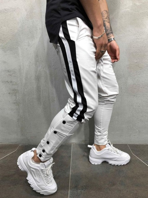 Patchwork Color Block Pencil Pants Spring Men's Casual Pants