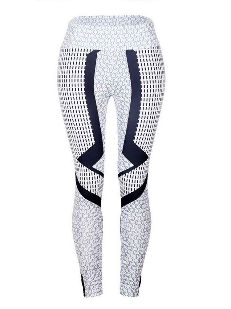 Geometric Sporty Skinny Women's Leggings, Summer, 13356193