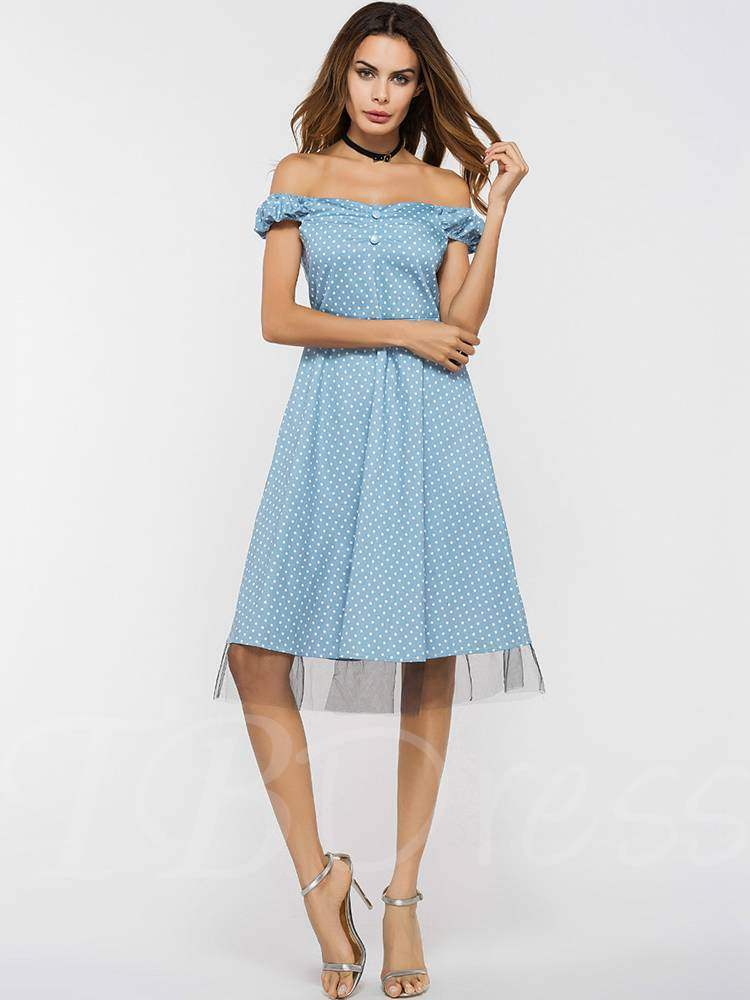 Buy Off Shoulder Button Prints Dots Day Dress, Summer, 13357098 for $19.85 in TBDress store