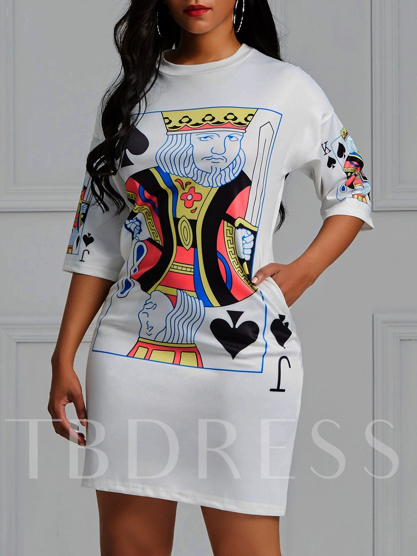 Three-Quarter Sleeve Round Neck Poker Print Women's Day Dress