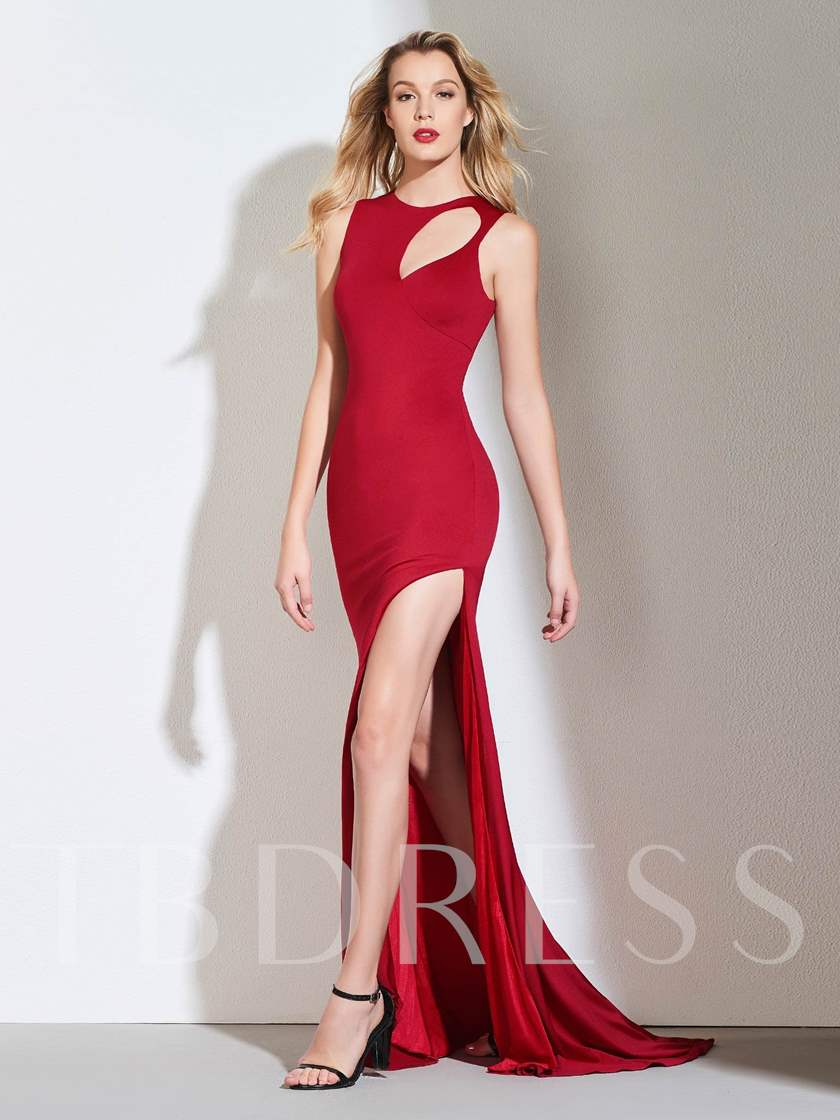 Sheath Hollow Scoop Side-Split Evening Dress 2019