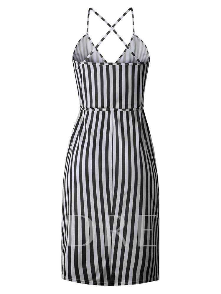 V-Neck Sleeveless Stripe Belt Day Dress