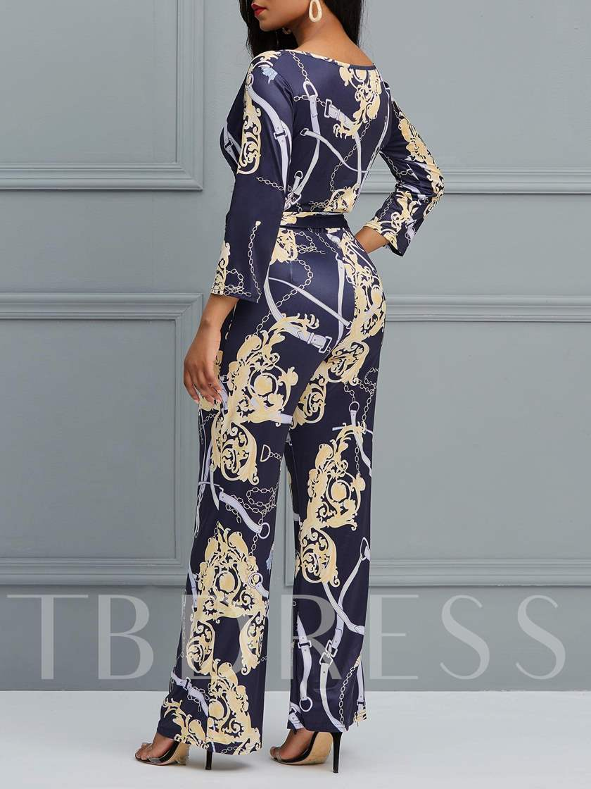 Color Block Full Length Lace-Up Wide Legs Women's Jumpsuit