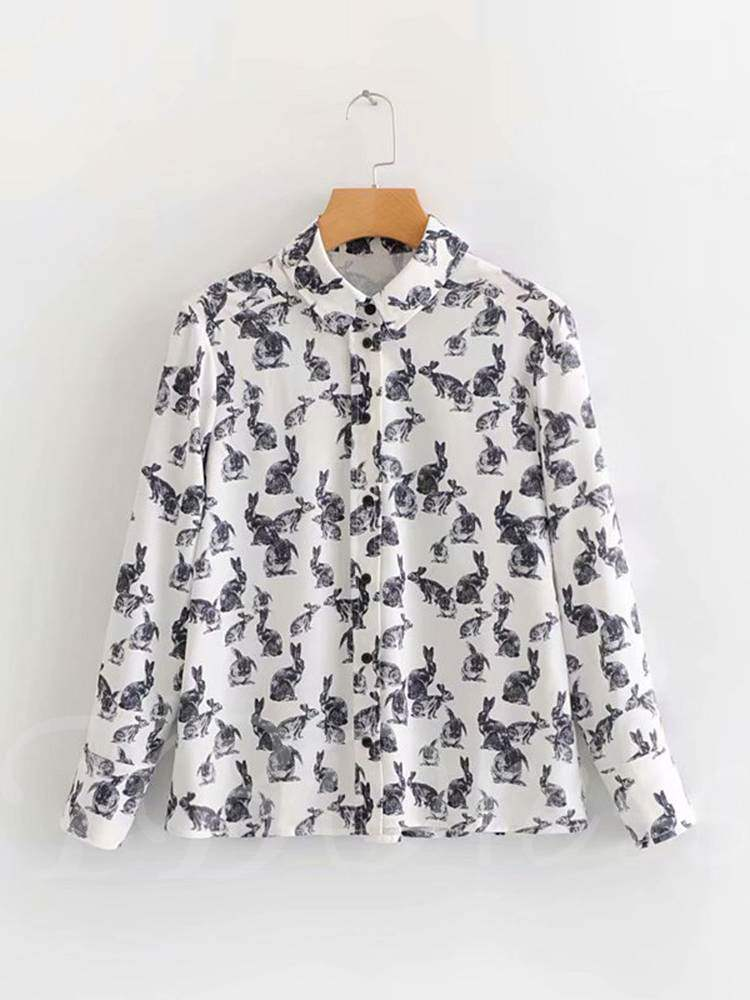 Buy Animal Print Single-Breasted Long Sleeve Women's Shirt, Spring,Fall, 13356237 for $16.91 in TBDress store