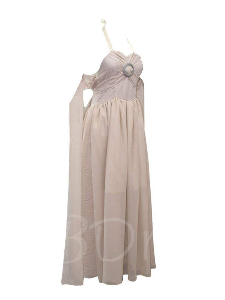 Chiffon Grey Long Train Dress Halloween Cosplay Costume