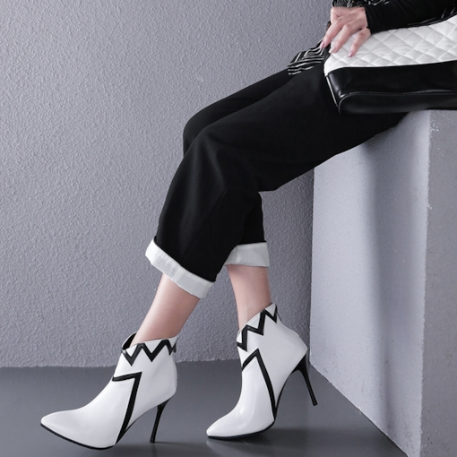 Pointed Toe Back Zip Stiletto Heel Chic Women's Ankle Boots