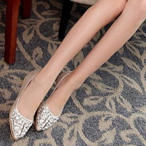 Slip-On Pointed Toe Block Heel Rhinestone Sparkly Women's Flats
