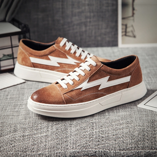 Lace-Up Round Toe Color Block Trendy Skateboard Shoes for Men
