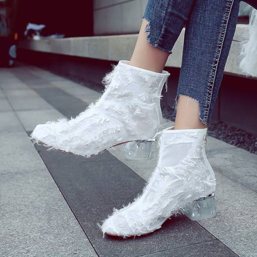 Back Zip Clear Chunky Heel Round Toe Trendy Women's Ankle Boots