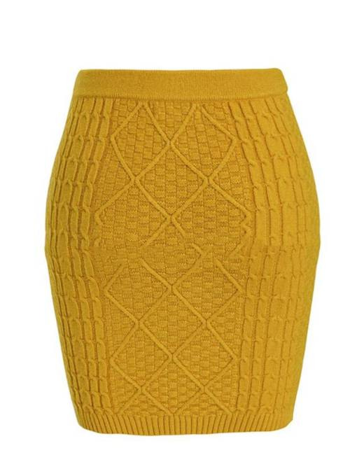 High Waist Bodycon Knit Women's Mini Skirt