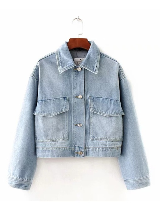 Button Down Light Color Women's Denim Jacket