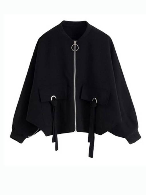 Drawstring Double Pocket Solid Color Women's Jacket