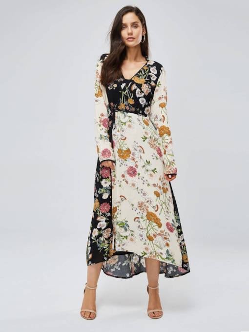 Long Sleeve V-Neck Printing Maxi Dress
