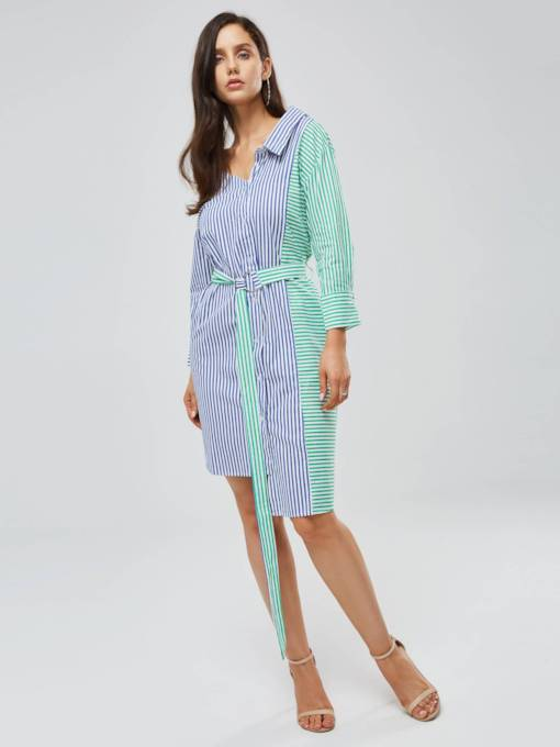 Long Sleeve Stripe Women's Shirt Dress
