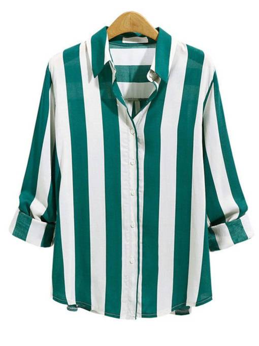 Stripe Loose Fit Single-Breasted Women's Shirt