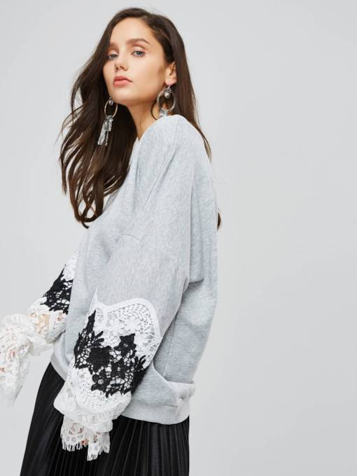 One Shoulder Off Lace Patchwork Women's Sweatshirt