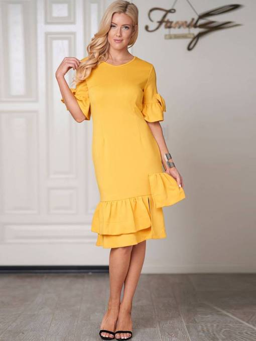 Yellow Falbala Zip Elegant Sheath Dress