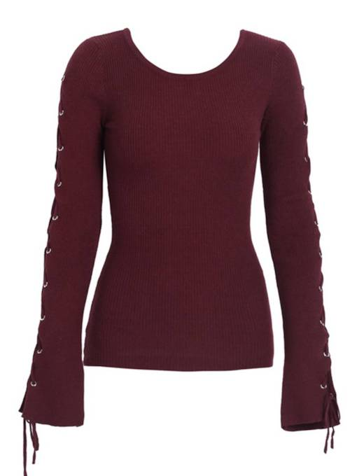 Round Neck Lace Up Long Sleeve Women's Sweater
