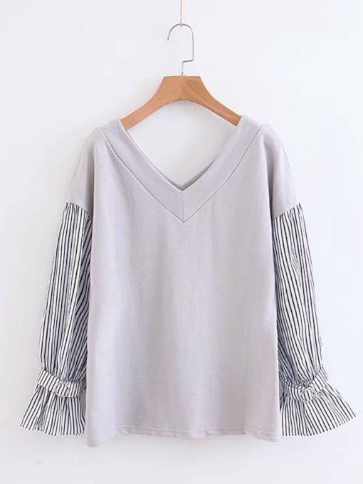 V Neck Stripe Flare Sleeve Women's Sweatshirt