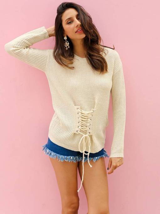 Lace Up Long Sleeve Slim Fit Women's Sweater