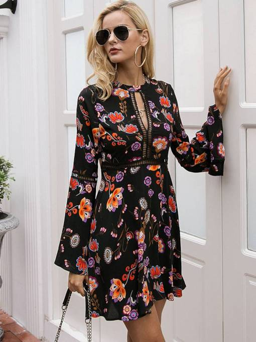 Flare Sleeve Floral Prints Travel Look Day Dress
