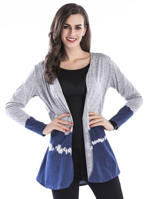 Plain Color Block Open Front Women's Cardigan