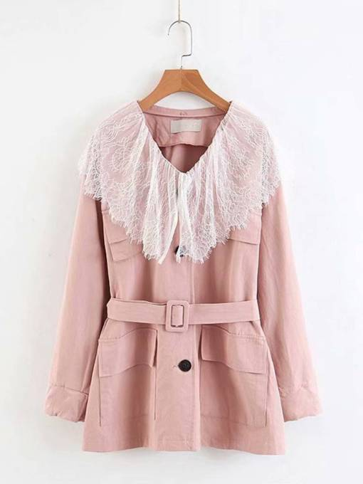 Belt Detachable Lace Lapel Women's Trench Coat