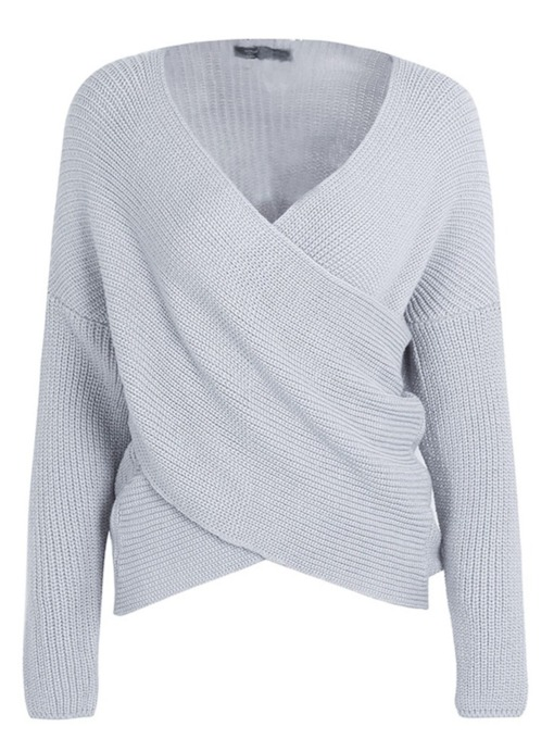 Cross Front Pull Over Pure Color Women's Sweater