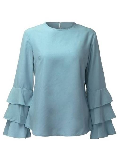 Plain Ruffle Sleeve Solid Color Women's Blouse