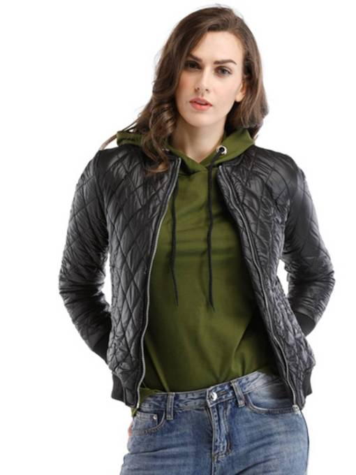 Zipper Up Rhomboids Cotton Clothes Women's Winter Jacket